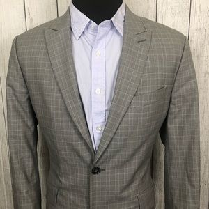 Express 42R Gray Glen Check 2-Button Sports Coat